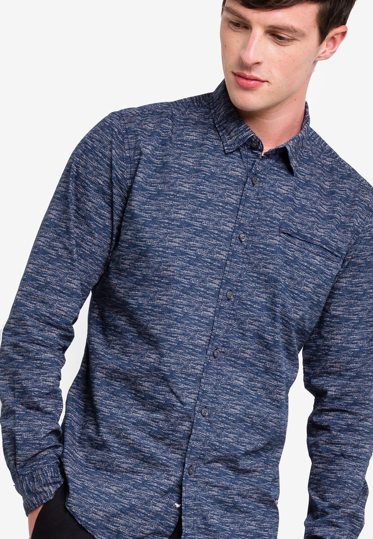 Woven ESPRIT Shirt Sleeve Long Navy FqSrFB