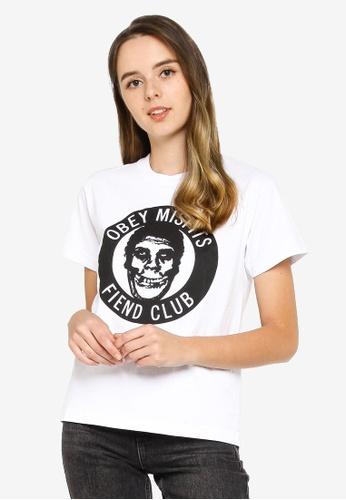 OBEY white Misfits Fiend Club T-Shirt BFDDAAA853BC5DGS_1
