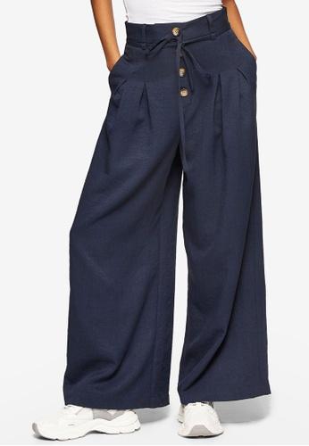 TOPSHOP navy Navy Button Tie Awkward Hem Trousers 26267AA4DC758EGS_1