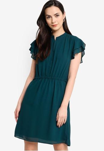 ZALORA WORK 綠色 雙褶飾袖短洋裝 F984EAADAEBC48GS_1