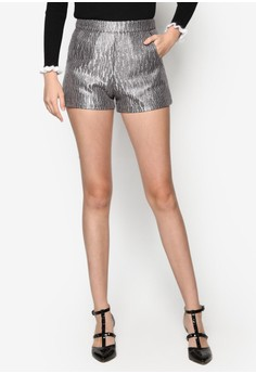 Metallic Shorts With Pockets