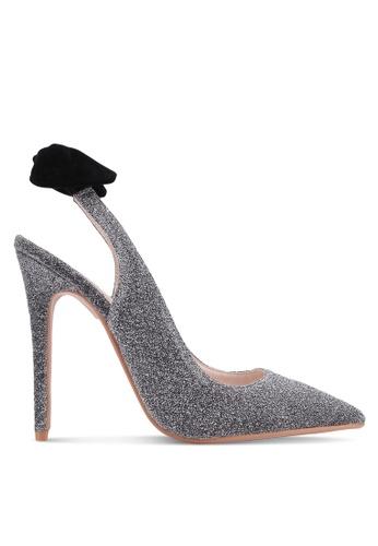 Velvet silver Glitter Mesh Slingback Heel E39D5SH981EF2DGS_1