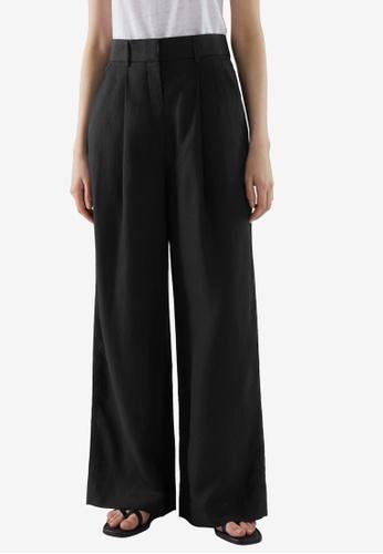 COS black High-Waisted Wide-Leg Pants C8F26AAFCC22FCGS_1