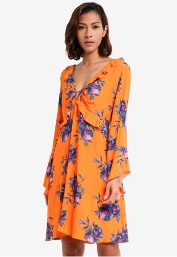 River Island orange Floral Frill Bell Sleeve Tea Dress 422ADAAA68EEB9GS_1