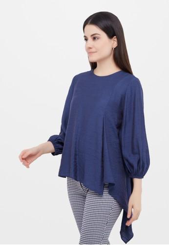 Neumor blue Shawle plain blouse 75BAFAAF41A786GS_1