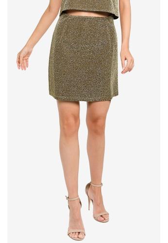 ZALORA OCCASION gold Metallic Mini Skirt 46842AAB9E5A87GS_1