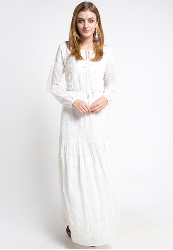 Devain Kapoor white Chantilly Embroidered Gown DE459AA0V3DNID_1