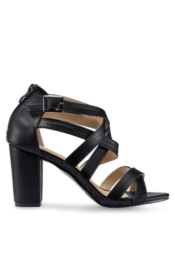 Berrybenka 黑色 繞帶高跟鞋 BD872SH49C563DGS_1