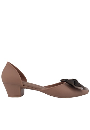 Halo brown Bow Waterproof Jelly Pointed Toe Heels CEE63SH538A286GS_1