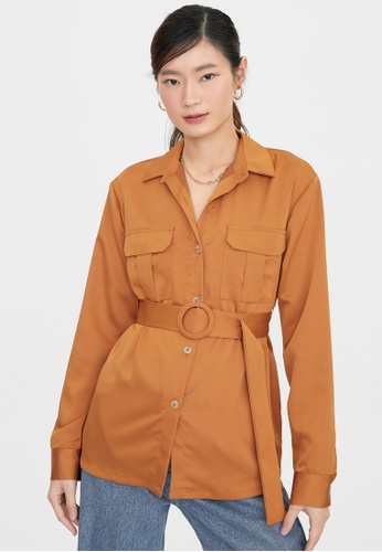 Pomelo brown Button Up Belted Long Sleeve Shirt - Brown 72A2DAA4E4FC9CGS_1