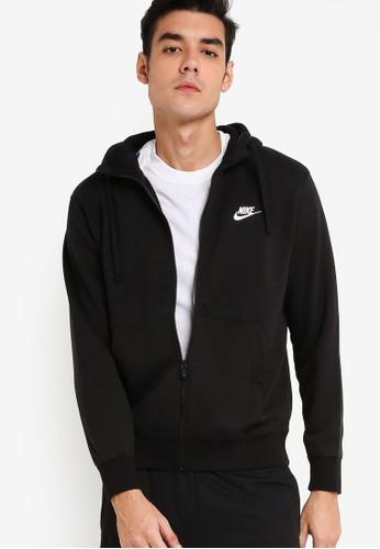 Nike black AS Men's Nike Sportswear Club Full-Zip Hoodie FT ED857AA93F895EGS_1