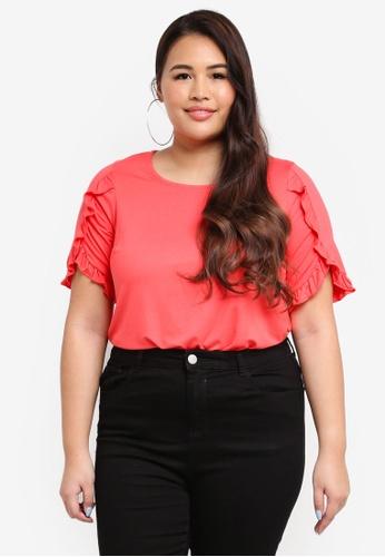 Dorothy Perkins pink Plus Size Ruffle Sleeve Tee 9D97DAAC8620FFGS_1