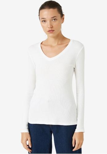 KOTON white V-Neck Rib Long Sleeve Top 78D67AA43C8058GS_1