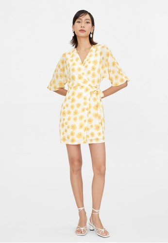 Pomelo yellow Daisy Print Wrap Dress - Yellow 97A08AAC402769GS_1