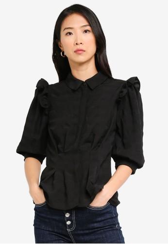 Vero Moda black Lucy 2/4 Puff Shirt 3AC9FAA00E2D52GS_1