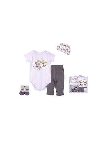 Little Kooma white Hudson Baby New Born Baby 4 Piece Layette Gift Set Jungle Animals 18418 F13F3KCAA841F6GS_1