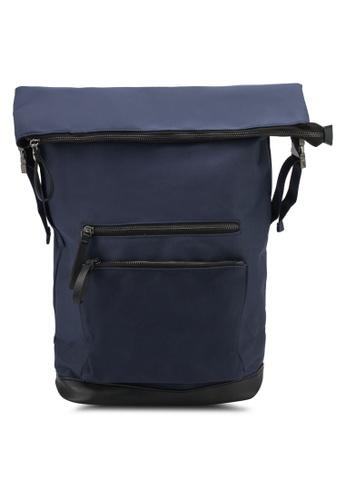 ZALORA navy Large Zip Detail Nylon Backpack 70AB7ZZ17FB68AGS_1