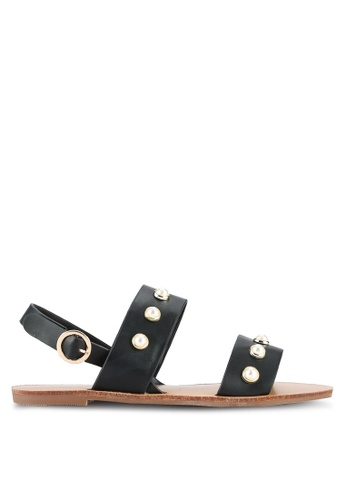Something Borrowed black Double Strap Pearl Sandals 8C70DSH7D41D02GS_1