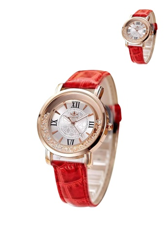 Manmico red Casual 002 Leather Strap Women's Watch  Buy 1 Take 1 MA606AC04LCLPH_1