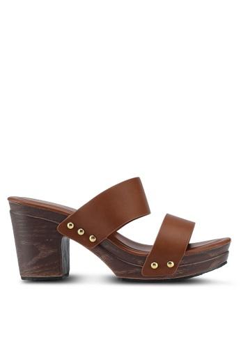 Bata 褐色 繞帶粗跟涼鞋 0C005SHBA0F101GS_1