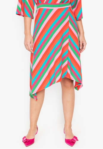 Wear Kris pink and multi Kathleen Stripe Asymmetric Hem Knit Skirt 9F7E8AAACF6639GS_1