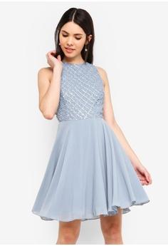 a1cbc801a8 Lace   Beads blue Junko Dress Blue Tonal Embellished Dress  B56F0AA28A414FGS 1