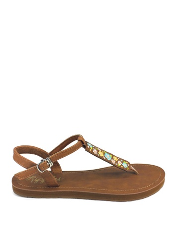 Ripples brown and blue Floral Embroidery Slide'N'Style T-Bar Sandals 573C2SH330250BGS_1