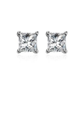 Glamorousky white 925 Sterling Silver Simple Fashion Geometric Square Cubic Zircon Stud Earrings 21727ACA19095DGS_1