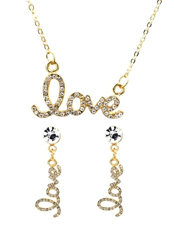 Venice Jewelry gold Venice Love Necklace and Earrings Set VE564AC0IMCYPH_1