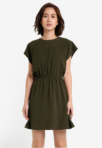 ZALORA green Essentail Short Sleeve Fit And Flare Dress E4BB6ZZ57300D2GS_1