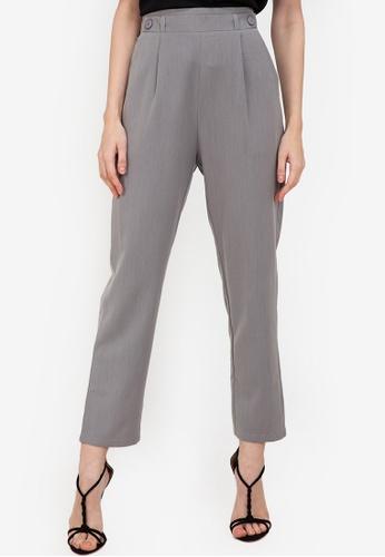 ZALORA WORK grey Elastic Band Detail Pants 4D331AA4FCF63AGS_1