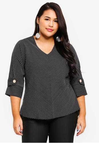 Ex'otico black Plus Size 3/4 Sleeve Striper Bias Blouse 8C42CAA95F2219GS_1