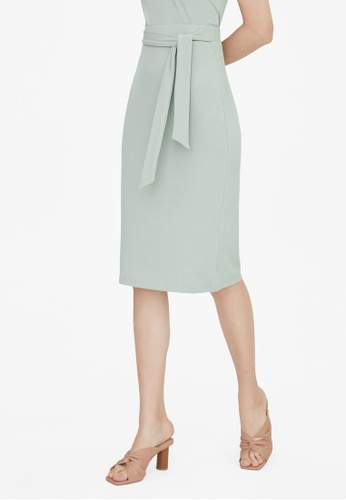 Pomelo green Midi Belted Ribbed Skirt - Green A40C2AAB2AE0ACGS_1