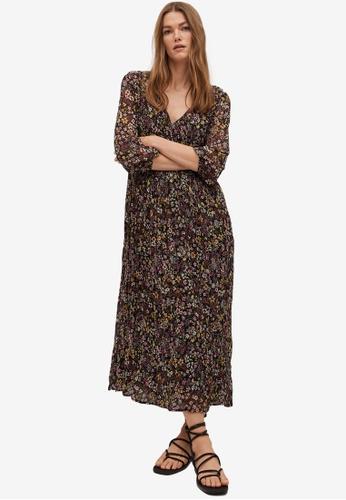 Mango black Printed Pleated Dress B4436AAC05244CGS_1