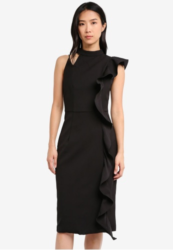 ZALORA black Studio Asymmetric Ruffle Midi Dress 84DFDAA02442E3GS_1