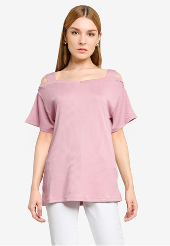 LOWRYS FARM pink Knit Cold Shoulder Top E3AC6AAA37913CGS_1