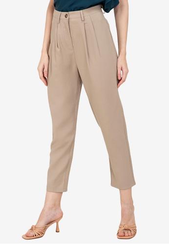 ZALORA WORK brown Pleat Detail Pants 202E5AA04E0A5EGS_1