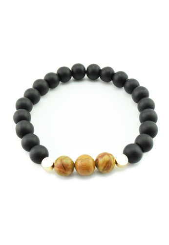 Memento Collection black and brown Black Stone with Wood Bracelet ME060AC53HFMMY_1