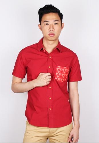 Moley red Geometric Triangle Mosaic Patterned Pocket Short Sleeve Shirt 2C313AA7D94F00GS_1