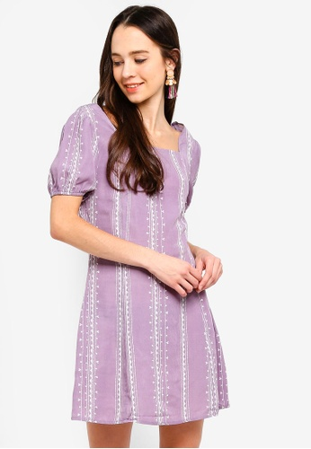 Something Borrowed purple Square Neck Fit And Flare Dress 4A31DAAA67F467GS_1