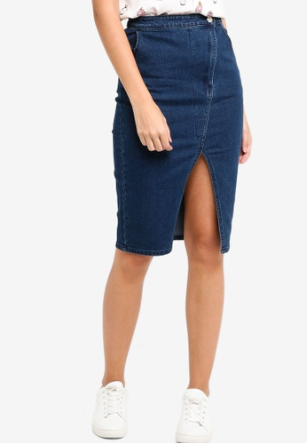 ZALORA blue Asymmetrical Pencil Skirt 63356AA2320ACBGS_1