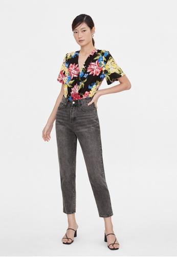 Pomelo black Floral Surplice Bodysuit - Black 1D38FAA84E2E9BGS_1