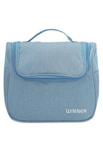 Bagstationz blue Lightweight Water-Resistant Toiletries Large Pouch BA607AC0RL0HMY_1