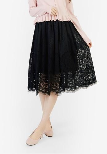 YOCO black Laced Cut-Out Skirt 5408CAA7B8EA37GS_1