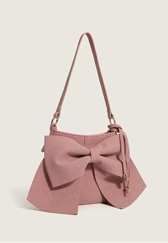 Lara pink Women's Bowknot PU Leather Zipper Shoulder Bag - Pink 69B2EACA16221DGS_1