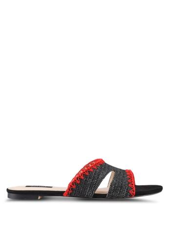 ZALORA black Straw Weaved Sandals B781FSHC288FEDGS_1