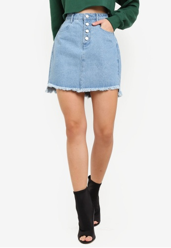 2821c15c1d0 Buy MISSGUIDED Step Hem Denim Mini Skirt Online on ZALORA Singapore