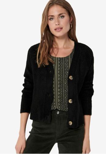 ONLY black Carol Long Sleeves Knit Cardigan 358D5AA509FF59GS_1