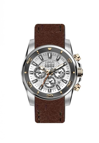 4a1a44e12e CERRUTI 1881 brown Cerruti 1881 Men Maratea CTCRA129SN04BR-I Brown Leather  Strap Chronograph Watch 68967AC2ED3F1DGS_1