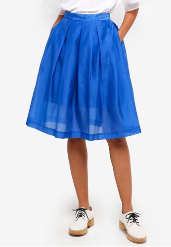 Hopeshow blue Semi Sheer Mesh Midi Skirt 35CABAA6D00297GS_1